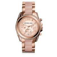 Michael Kors Designer Women's Watches Blair Rose Gold Tone Stainless Steel and Acetate Women's Watch