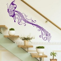 BUTTERFLY & MUSIC NOTES VINYL WALL STICKER ART HOME ROOM DECOR DECAL REMONABLE (Purple)