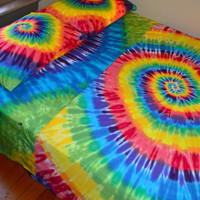 Wanna Sleep In A Rainbow?! Hand Dyed King Sheet Set In Vibrant Tie Dye Colors - Psychedelic Bedding
