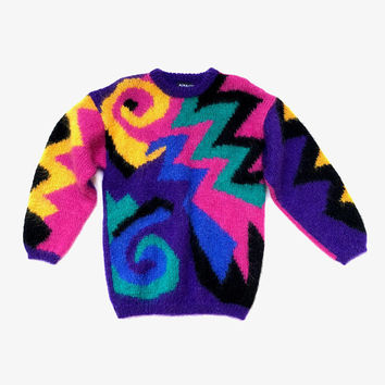 Vintage 1980s 'Monmatre' colourful and graphic hand knitted wool/mohair sweater with all over abstract design