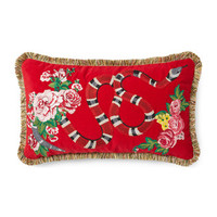 Gucci Velvet cushion with Kingsnake embroidery