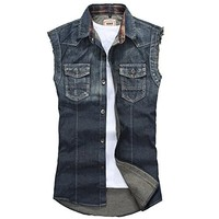 Men's Slim Fit Fashion Sleeveless Denim Vest Outwear