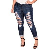 High Waist Ripped Jeans Of Women Spring Pants Capris Casual Plus Size Pockets Long Denim Daily Jeans Pants Female