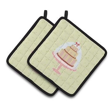 Decorated Cake on Green Pair of Pot Holders BB7305PTHD