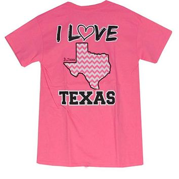 Bjaxx I Love Texas Pink Chevron State Southern Girlie Bright T Shirt