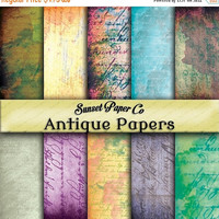 SALE Antique Worn Parchment Digital Papers, Instant Download and Printable for all your Art Project Needs, Scrapbooking, Crafting, Paper Goo