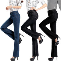 High quality Promotion Women's slim mid waist Boot Cut jeans Girls fashion nostalgic bell bottom trousers flares free shipping