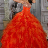 Long Bead Quinceanera Ball Gown Formal Prom Evening Party Pageant Dresses New
