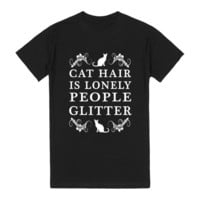 cat hair is lonely people glitter reg tee blk/wht