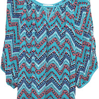 Plus Size Zig Zag Print Cold Shoulder Top