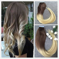Full Shine Ombre Balayage Color Adhesive Strong Tape Hair Extensions Skin Weft Dip-Dye Color Ombre Dark Brown  #4 Fading to 613