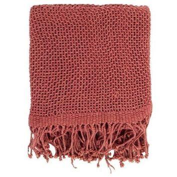 Harbor Cotton Mauve Throw Blanket
