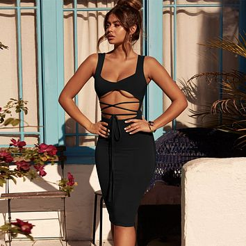 Fashion Edgy Solid Color Hollow Bandage Sleeveless Bodycon Dress