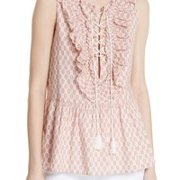 kate spade new york arrow stripe lace-up top | Nordstrom
