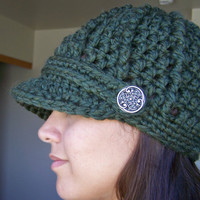 Crochet Newsboy Hat with Buttons- Moss Green - Made to Order