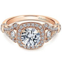 Gabriel Delilah Vintage Style Diamond Halo Engagement Ring