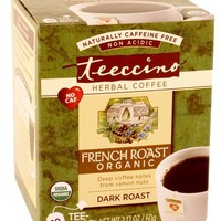 Teeccino French Roast Organic Chicory Herbal Tea bags, Caffeine Free, Acid Free 10 count (Pack of 6)