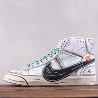 hcxx Nike X Off White Blazer Mid Fashion Skate Shoes White Black