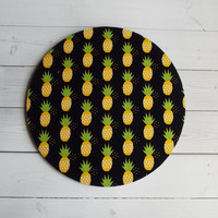 yellow pineapples on black mouse pad / Mat - round or rectangle office accessories desk home decor