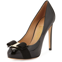 Salvatore Ferragamo Rilly Patent Bow Pump