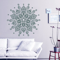 Mandala Wall Decal Lotus Sunshine Stickers Vinyl Decals Flower Art Mural Home Decor Interior Design Bedroom Sticker Bohemian Decor KI59