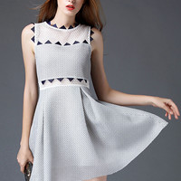 White Mesh And Geo Panel A-line Dress