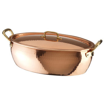 Deep Oval Roasting Pan w/Lid, Copper-Tin