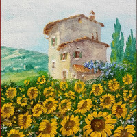 "Little Italian painting ""Tuscany landscape n2"" original of Luciano Torsi - Dipinto pittore Italiano"
