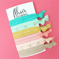 Six Pack of Hair Ties Knotted Knot Tie Set of 6