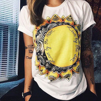 Cotton Sunflower Print T Shirt