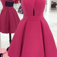 Pink A Line Strapless Open Back Short Homecoming Dress