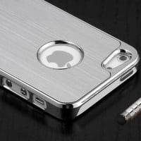 360 degree Rotating Magnetic Folio Stand Protective Protector Leather Case For Iphone 5 5S with 1 screen protector and 1 stylus (silver)