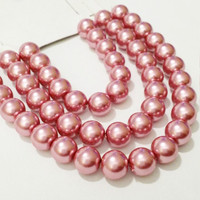 8mm Pink Glass Pearl Beads / Rose Pink Glass Beads / DIY Jewelry Making / Crafting / Crafty / Glass Pearls / Glass Beads / DIY Craft