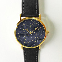 Constellation Watch Fashion Accessories Women's Watches Men Jewelry Leather Watch Spring Stars Space Astrology Galaxy Freeforme 2016 Unique