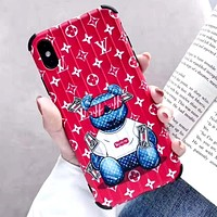 LV tide brand glossy texture wild fashion iPhoneX mobile phone case cover red
