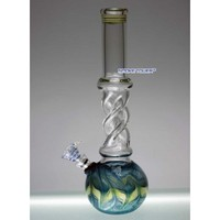 "10"" Twisted Glass Bong with Color Rake - Glass Bongs - 49.99 US and Canada"