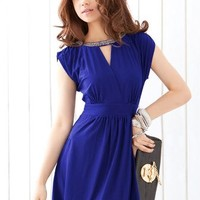 Elegant Fashion Rhinestone Design Hollow-out Slim Sleeveless Dress
