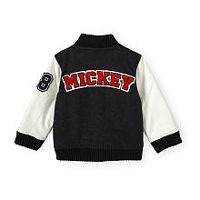 Disney Baby Boys Black/White Mickey Mouse Zip Front Varsity Jacket