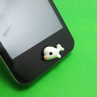 30%OFF Cute Little White Dolphins Home Button Sticker for iPhone 3,4/4s,5,ipad 2,3,4,iPod Touch 2,3,4,5