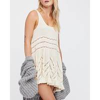 Free People - Voile And Lace Trapeze Slip Dress in Tea Combo