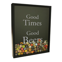 Beer Cap Collector Shadow Box - Good Times Good Beer Design