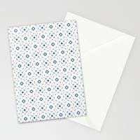 Acrylic Blue Square Dots Stationery Cards by Doucette Designs
