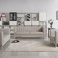 Divani Casa Dominic Modern Grey Fabric Sofa Set
