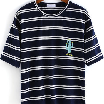 Navy Striped Cactus Embroidered Short Sleeve T-Shirt