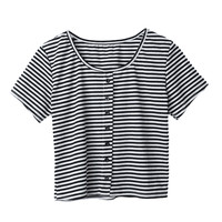 Round Neck Stripe Crop Top Button Short Sleeve T-Shirt