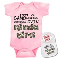 """"""" I'm A Camo Kinda Girl... """" Family theme Onesuit & bib (Available in 5 Colors)"""