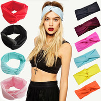 2016 Hot Women Cotton Turban Twist Knot Head Wrap Headband Twisted Knotted Hair Band Goods