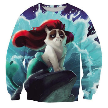 The Little Mermaid Crew Neck Sweatshirt Men & Women Cats Harajuku Style All Over Print Blue Sweater