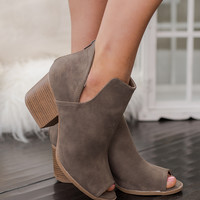 Face It Open Toed Cutout Booties (Taupe)
