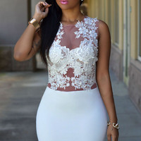 White Sheer Mesh Floral Lace Bodice  Mini Dress